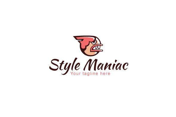 Style Maniac - Illustrative Comic Aggressive Face Stock Logo example image 1