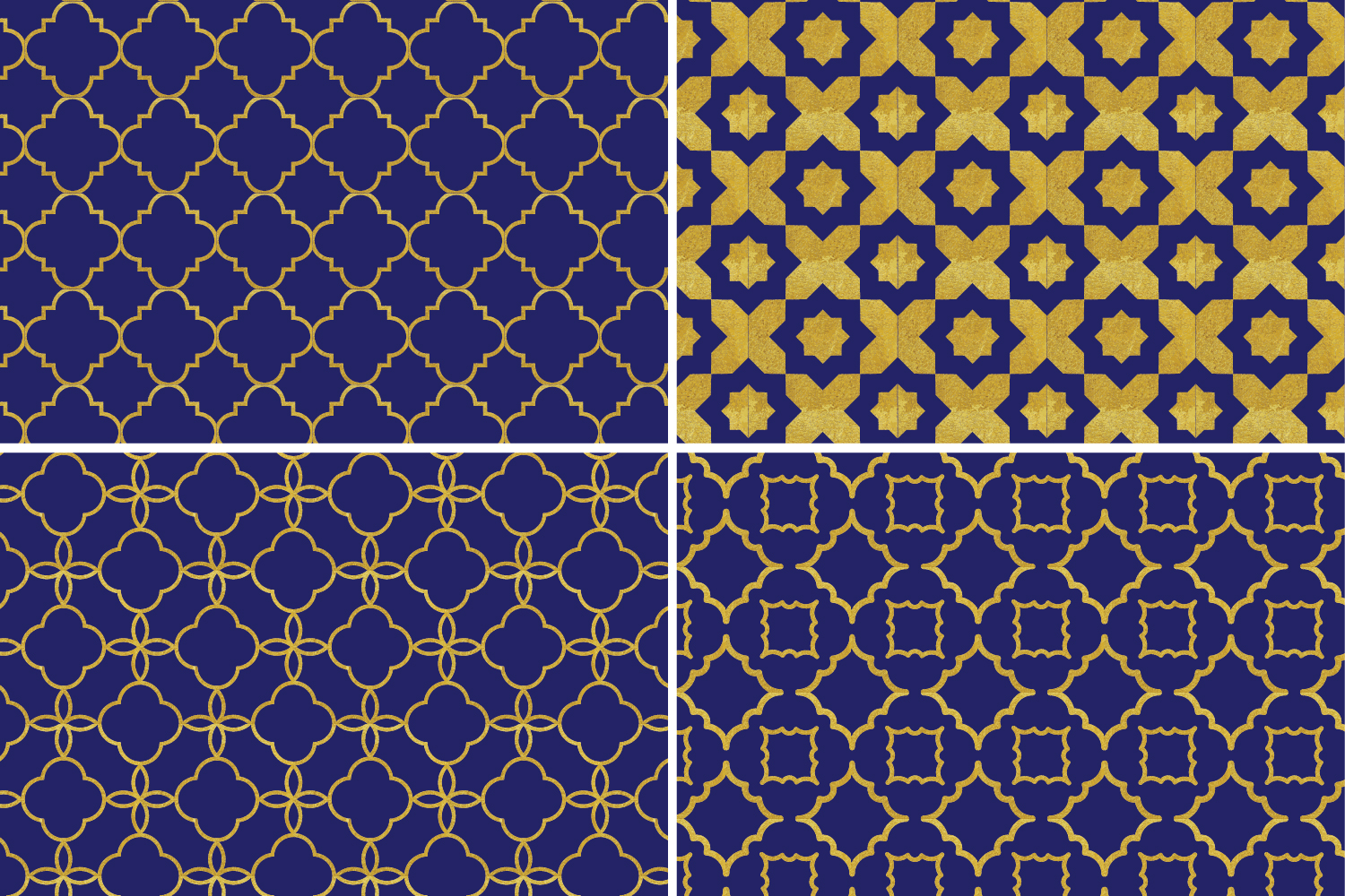 8 Seamless Moroccan Patterns - Gold & Cobalt Blue Set 2 example image 6
