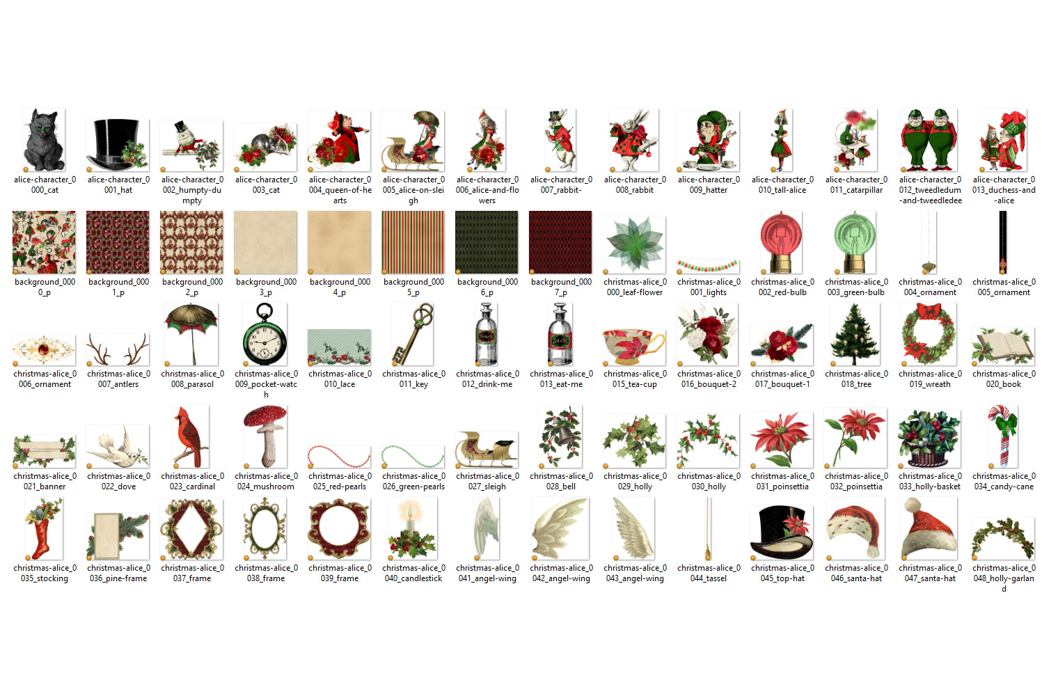 Christmas Alice In Wonderland Clipart example image 7