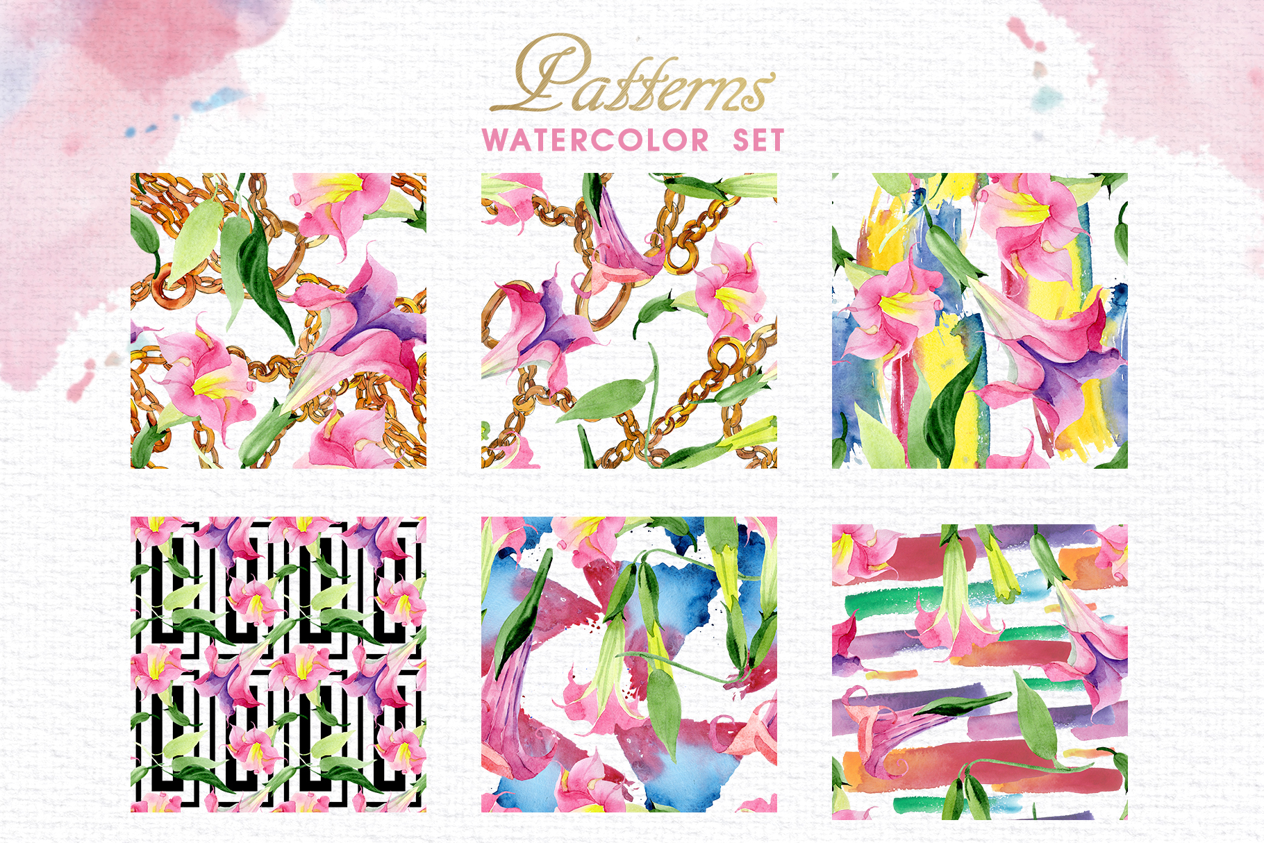 Pink Brugmansia Watercolor png example image 4