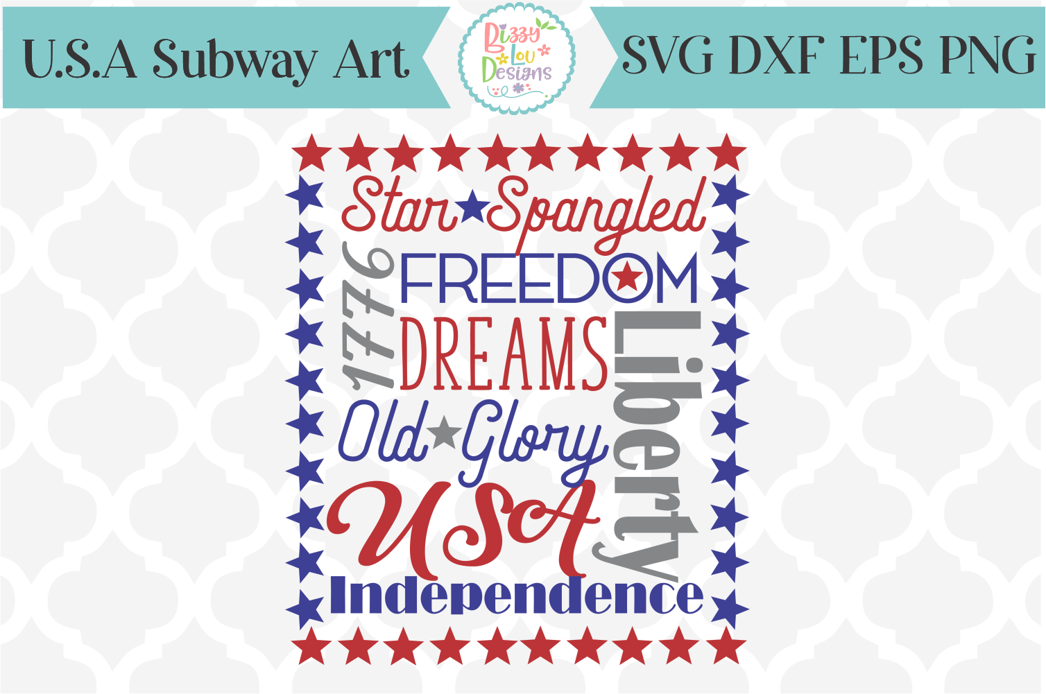 USA Patriotic Subway Art SVG Cutting File example image 1