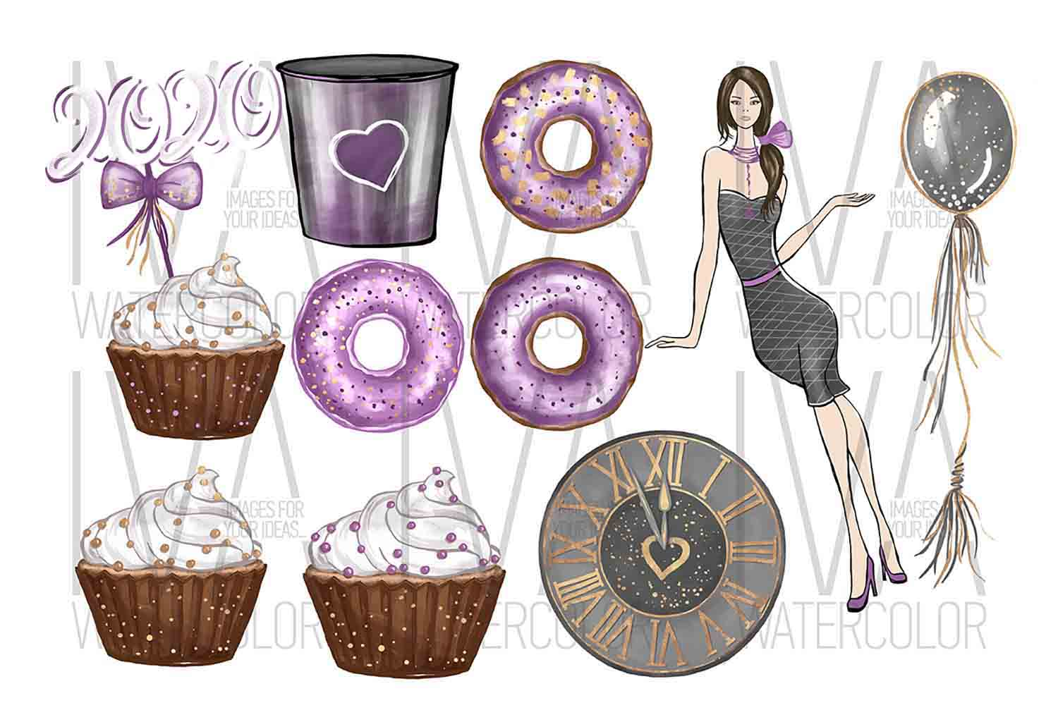 New Year's Eve Clipart, Fashion Illustration example image 3