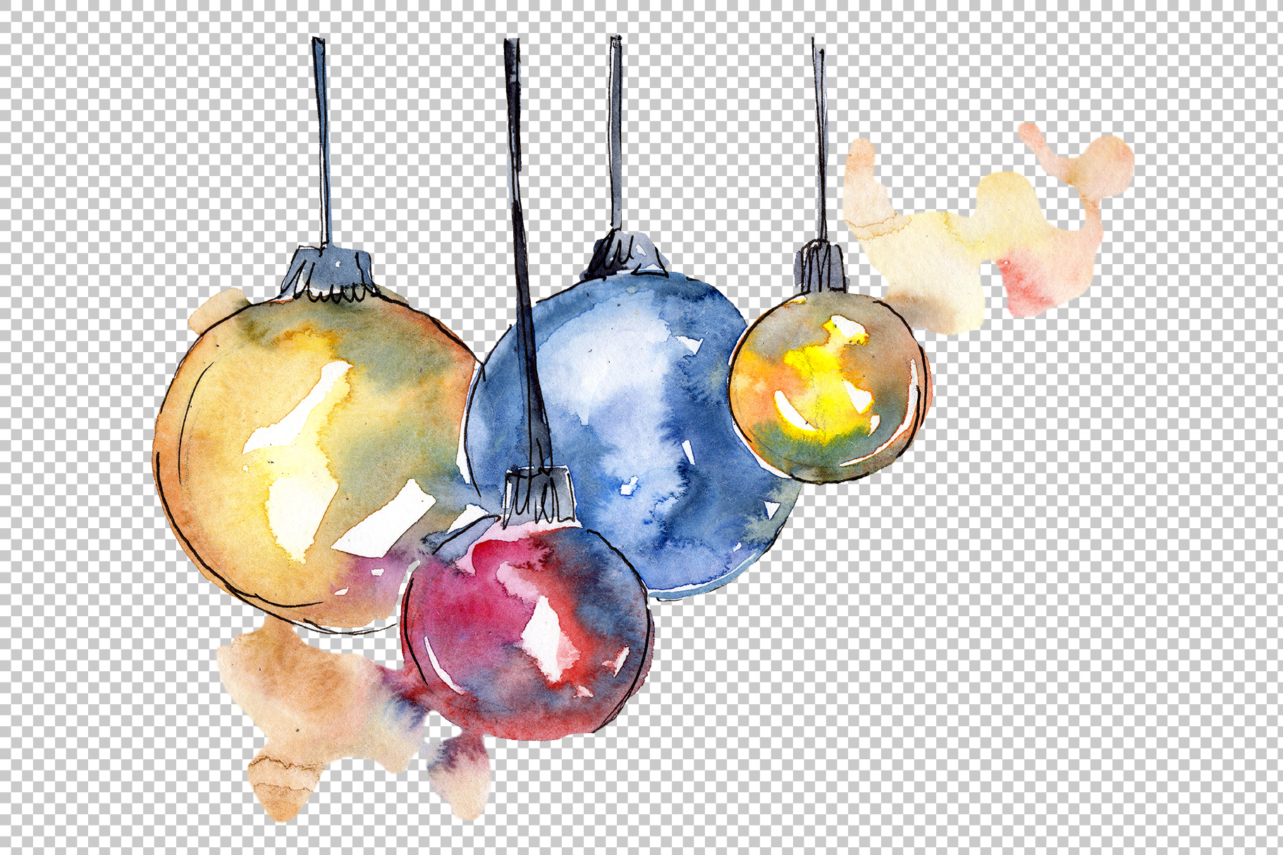 Christmas gift PNG watercolor set example image 7