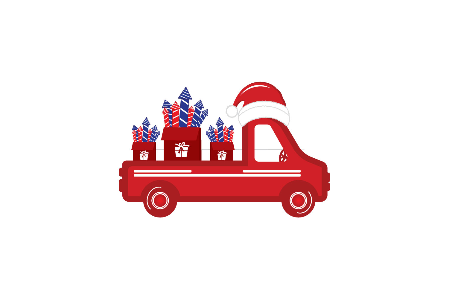 Old vintage red Christmas truck with fireworks and Santa hat example image 2