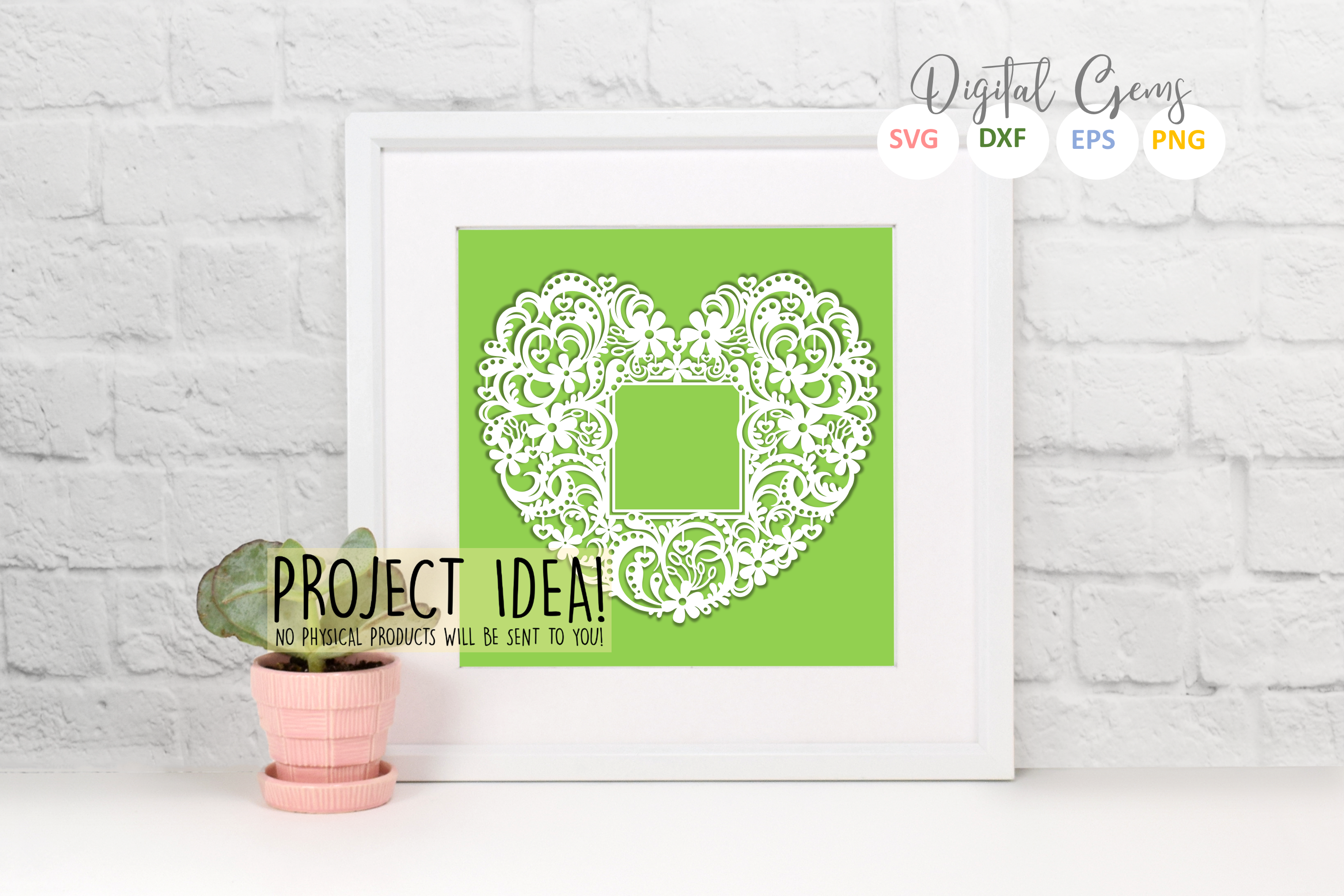 Heart frame papercut design. SVG / DXF / EPS / PNG files example image 2