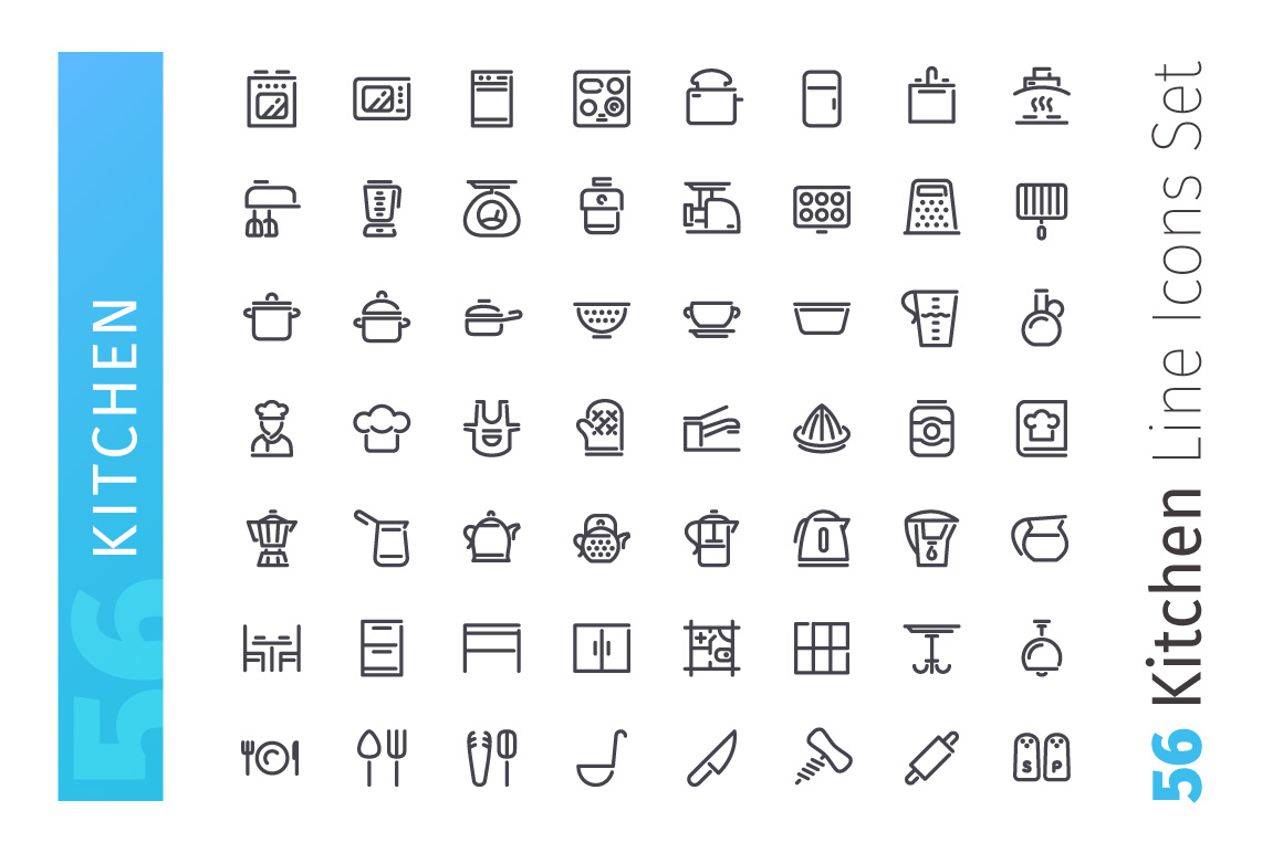 Kitchen Line Icons Set example image 2