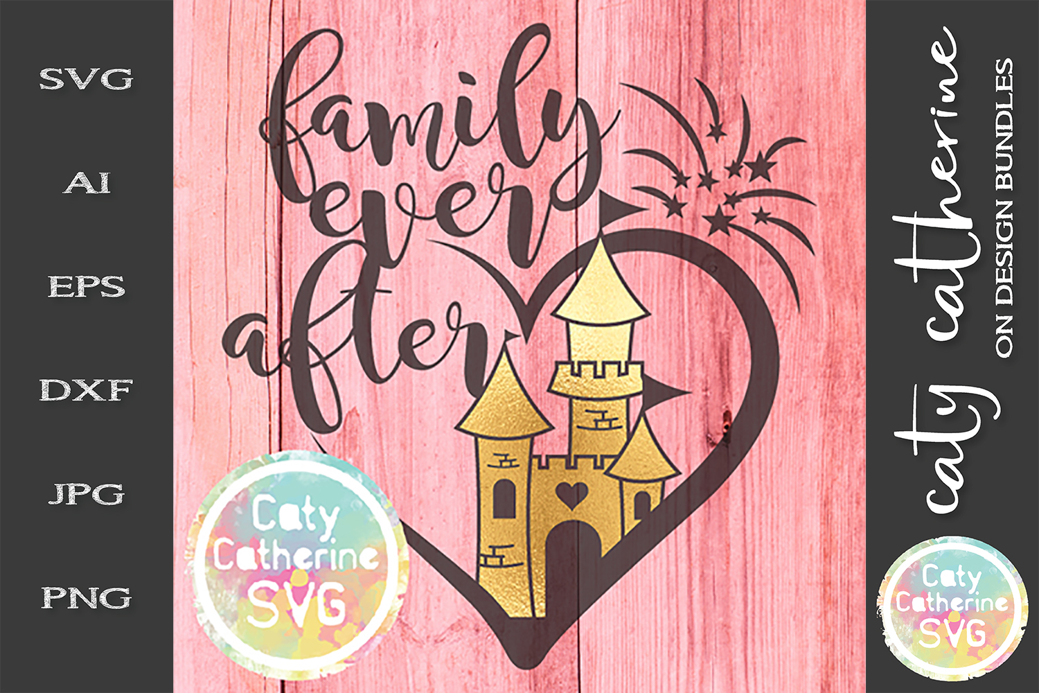 Family Ever After Castle Fireworks SVG Cut File example image 1