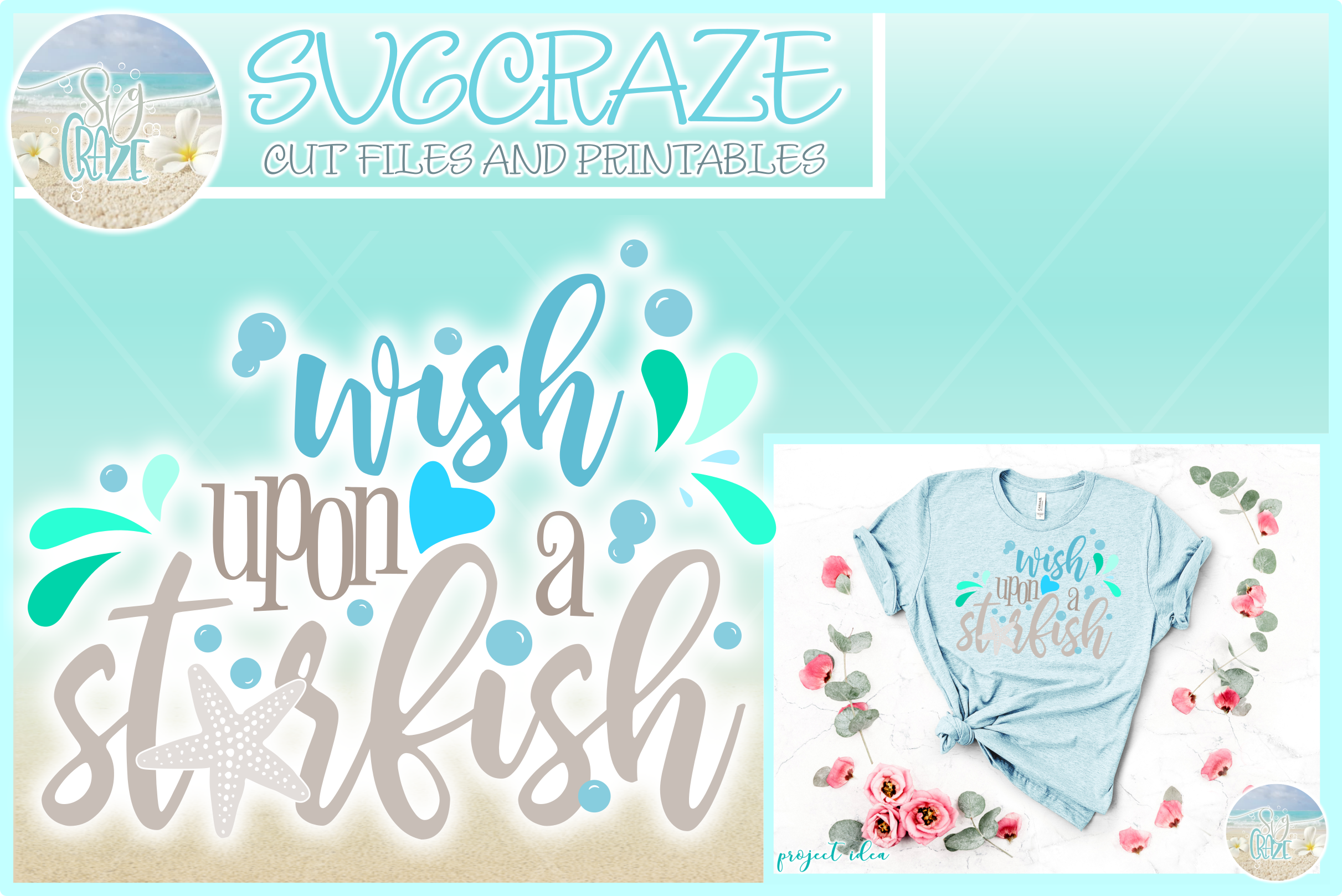 Wish Upon A Star Fish Quote Svg Dxf Eps Png Pdf Files example image 1