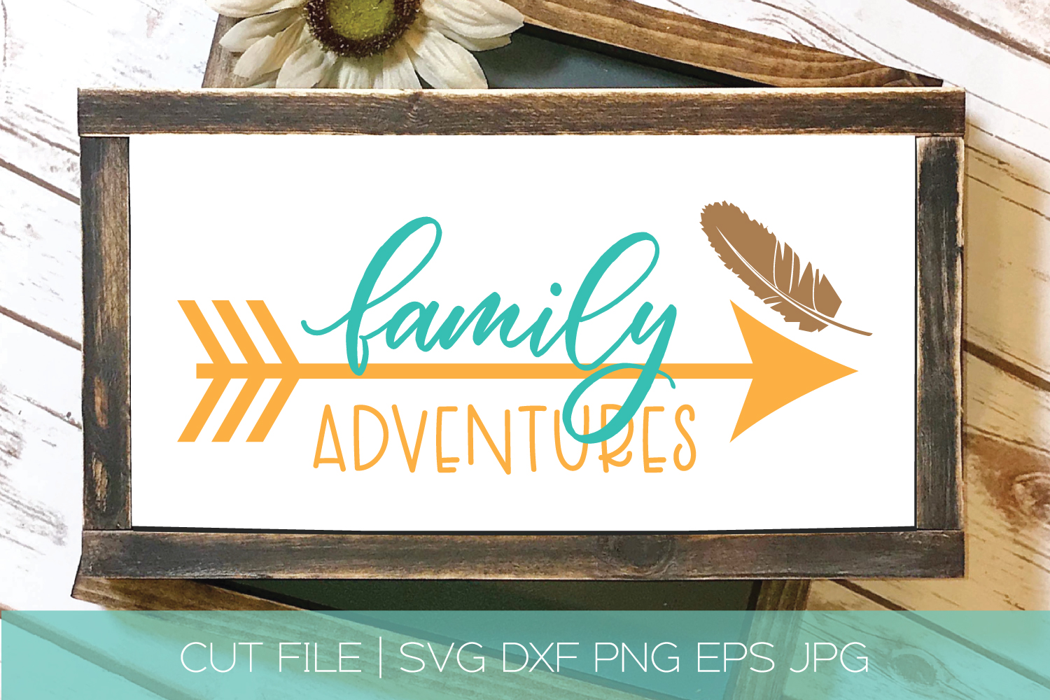 Family Adventures SVG DXF Cut File | Feather Arrow SVG example image 1