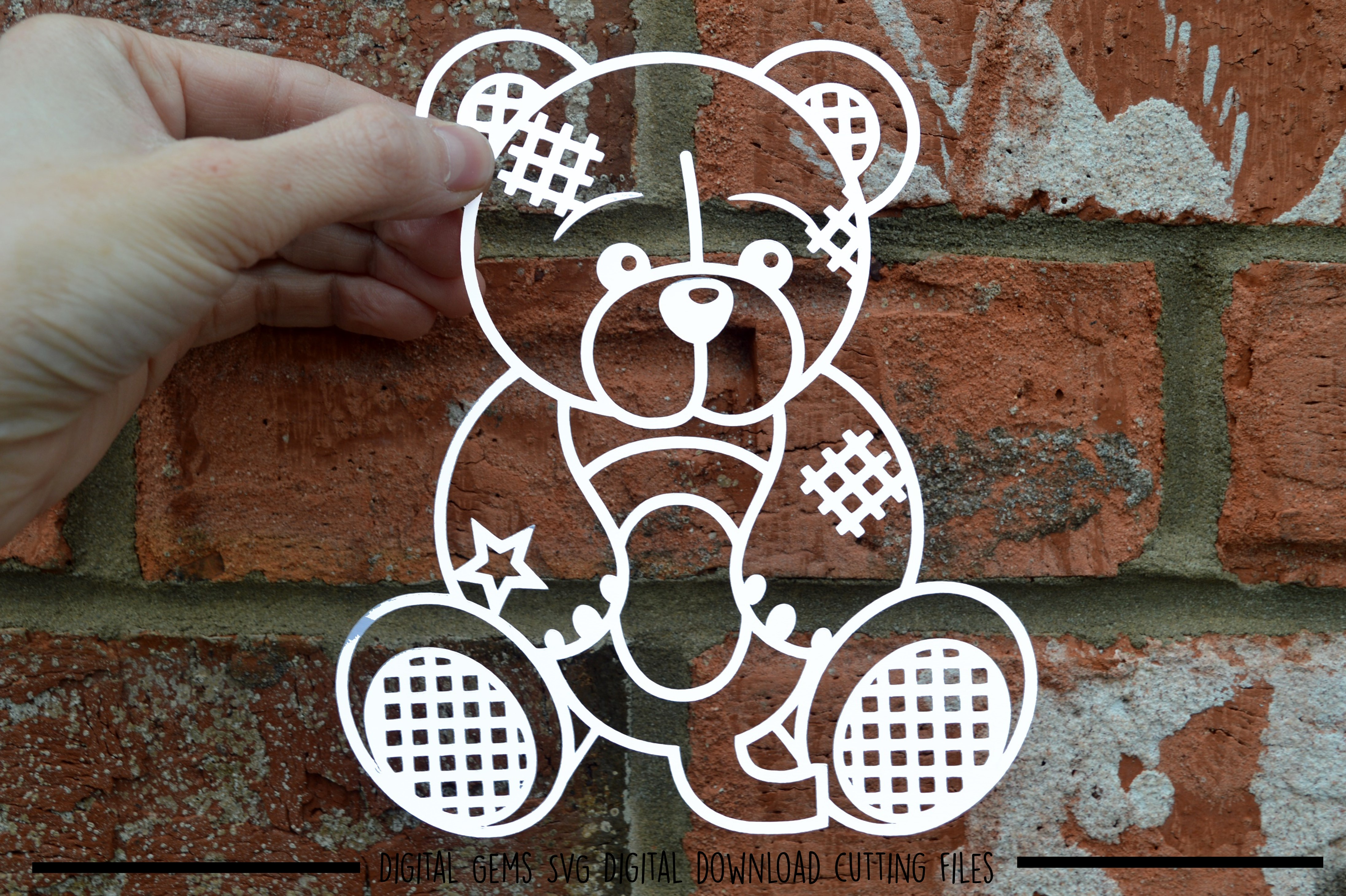 Alphabet teddy bear paper cuts SVG / DXF / EPS files example image 18