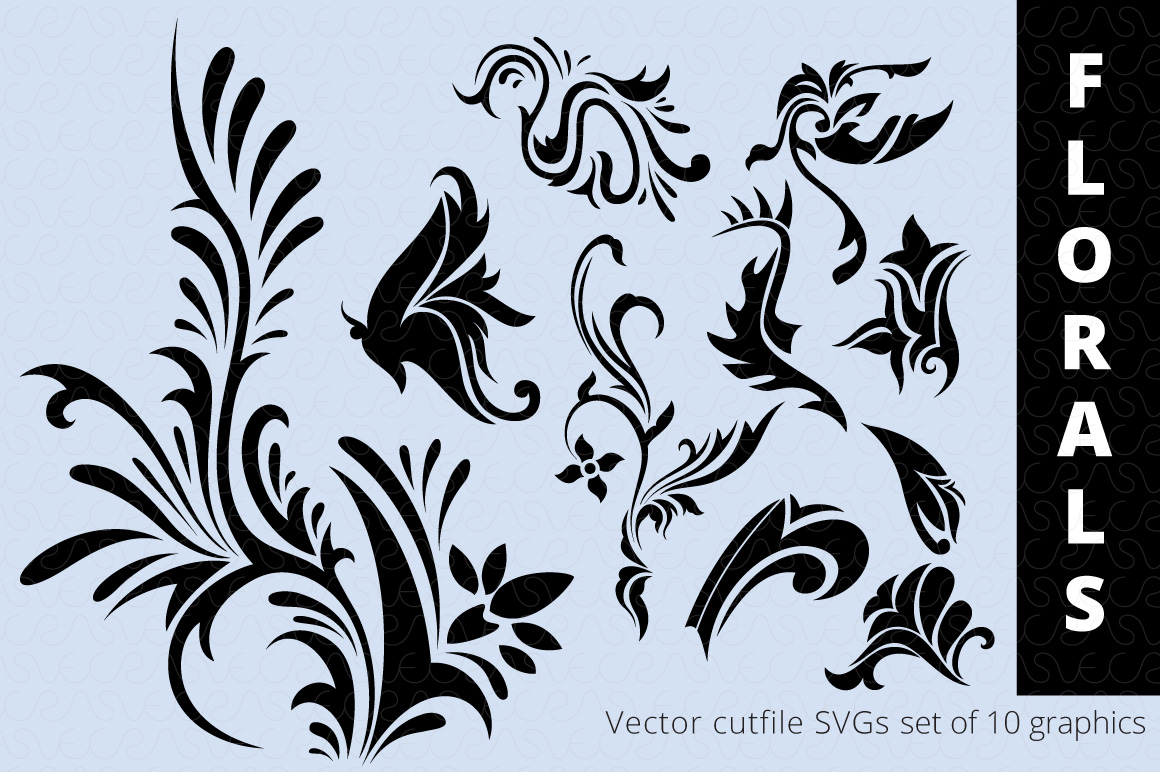 SVG Florals Cutfiles Bundle Pack of 270 vector graphic shape example image 18