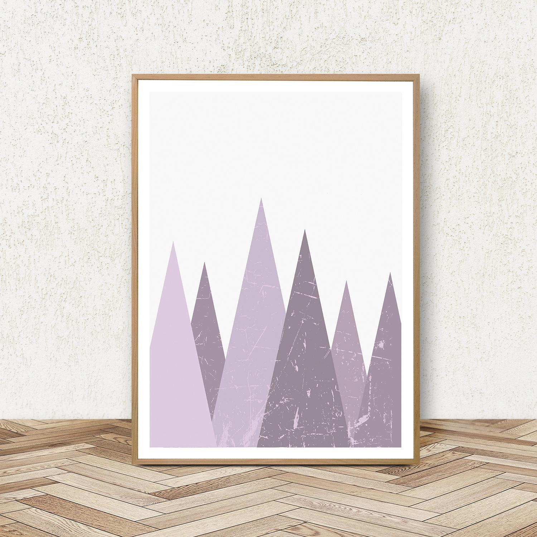 Purple Wall Art Prints, Geometric Print Set, Triangle Poster example image 4