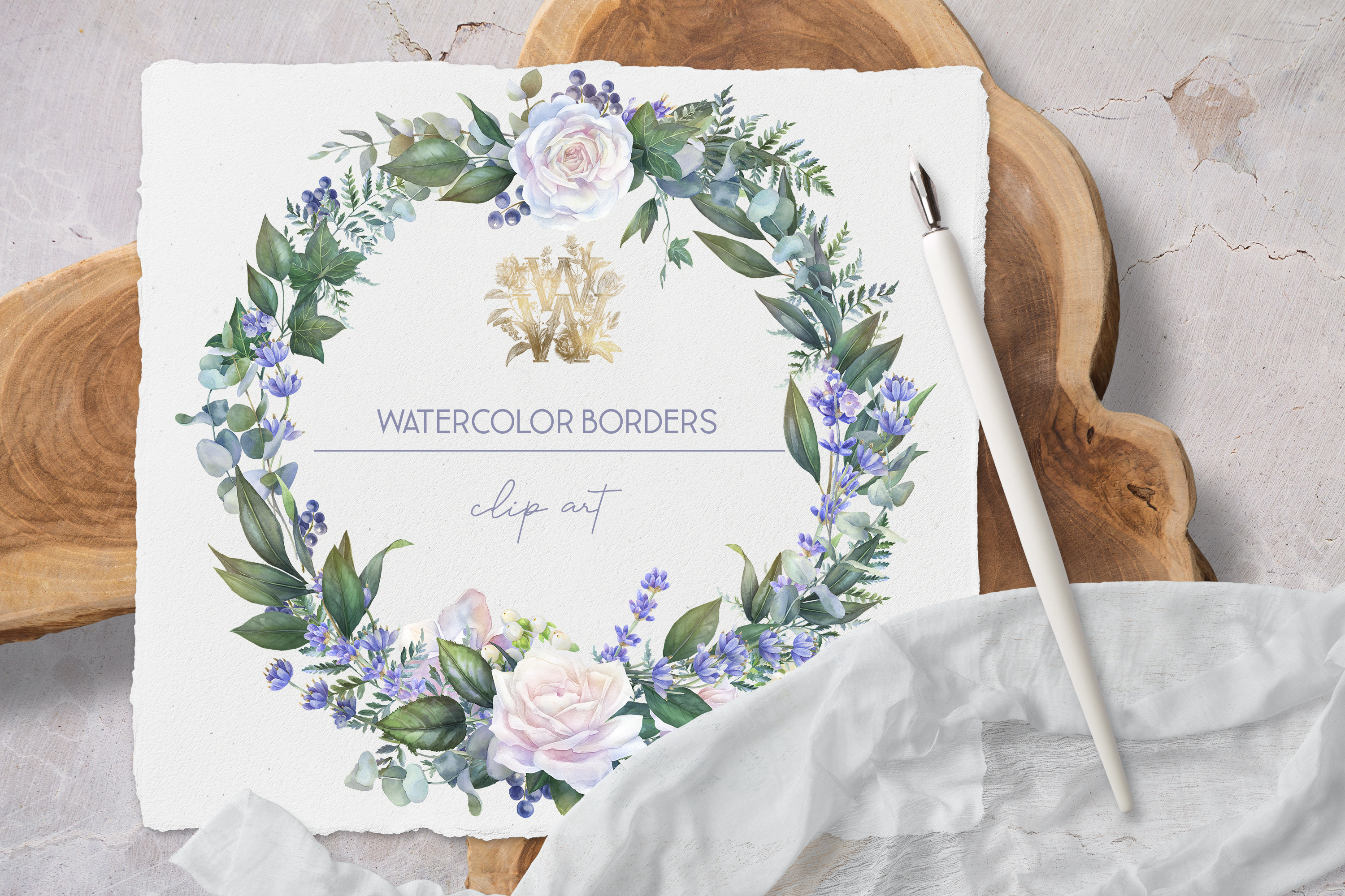White rose border clip art, watercolor floral wedding frame example image 4