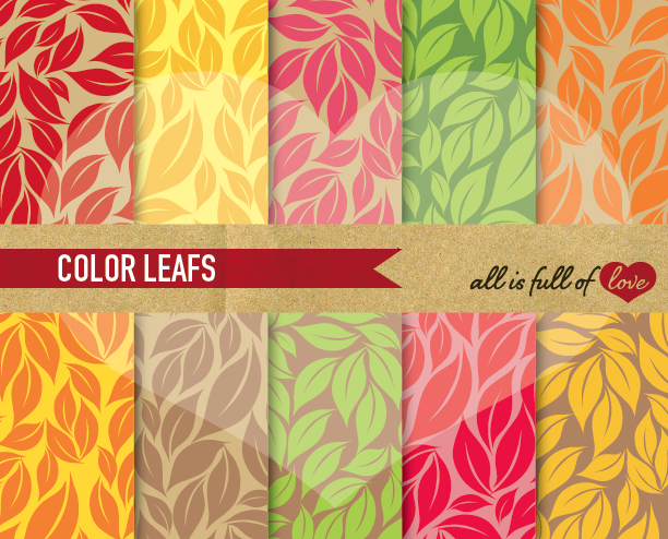 Leafs Background Patterns Autumn Digital Paper in Rainbow Colors example image 1