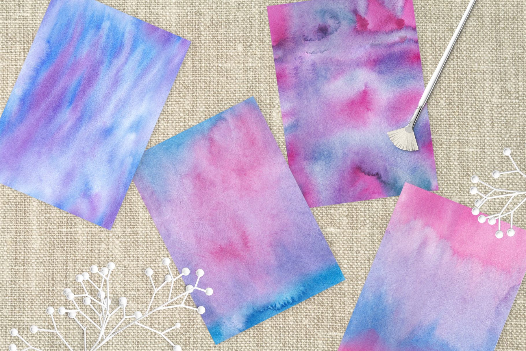 Watercolor Hand Drawn Seamless Textures example image 3