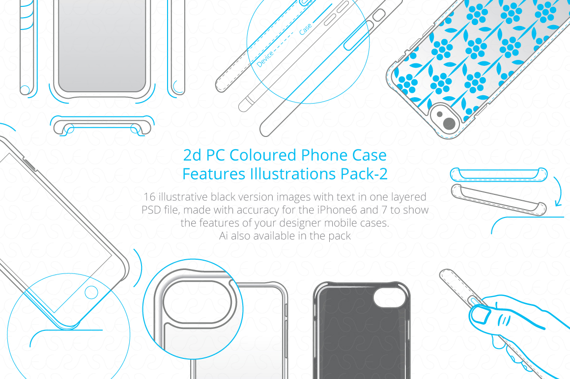 2D PC Colored Case Features Pack-2 example image 1