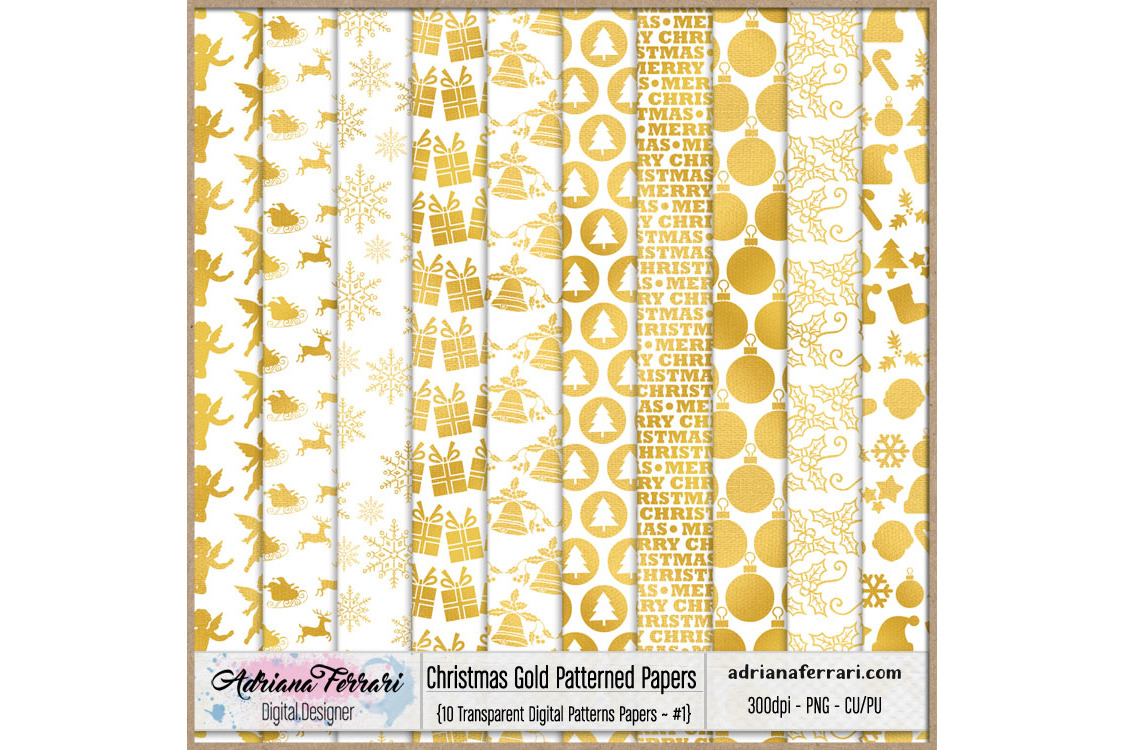Christmas Gold Patterned Papers - Patterns 1 example image 1