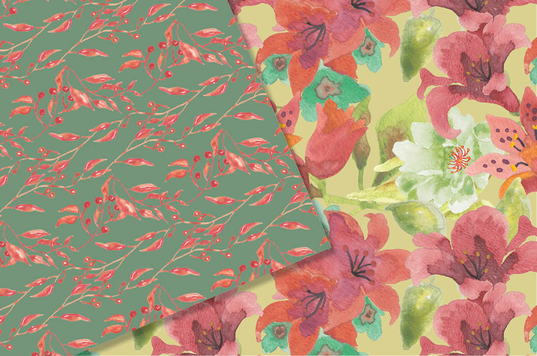 Watercolor patterns in coral flowers example image 4