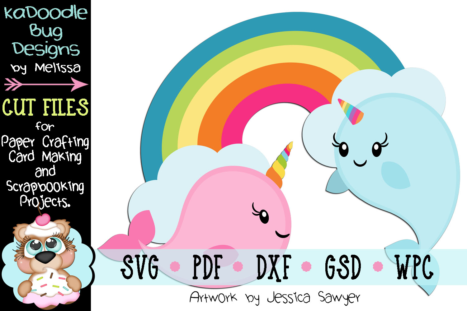 Underwater Rainbow Narwhals Cut File - SVG PDF DXF GSD WPC example image 1