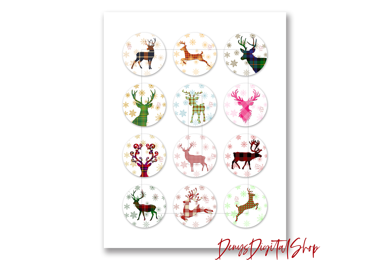 Christmas Digital Collage Sheet, Reindeer Printable Images example image 2