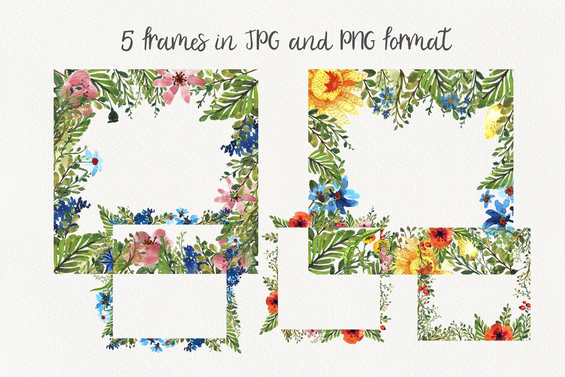 Flower Power watercolor pack set with frames wreath patterns example image 5