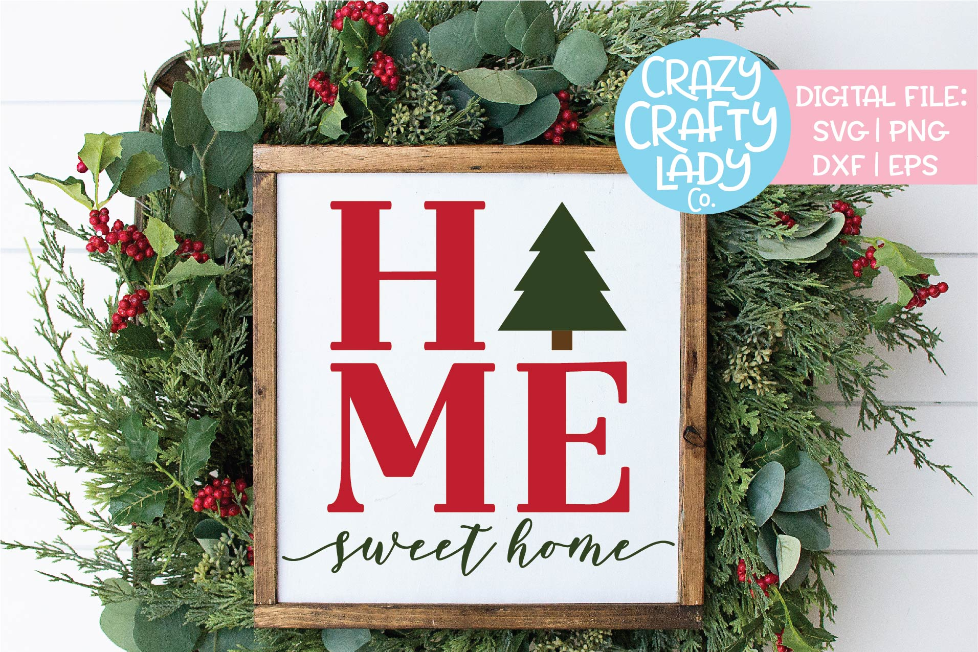 Home Sweet Home Christmas Tree SVG DXF EPS PNG Cut File example image 1