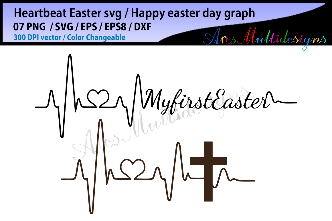 happy easter day svg vector / heartbeat graphics and illustration / easter heartbeat example image 2