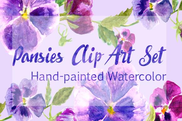 Watercolor Pansies Cip Art Set - Bonus Wreath and Border example image 1
