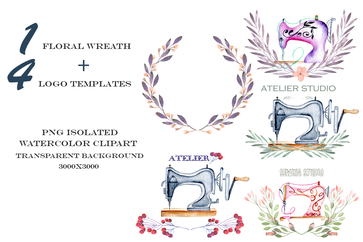 Sewing. Watercolor clipart example image 2