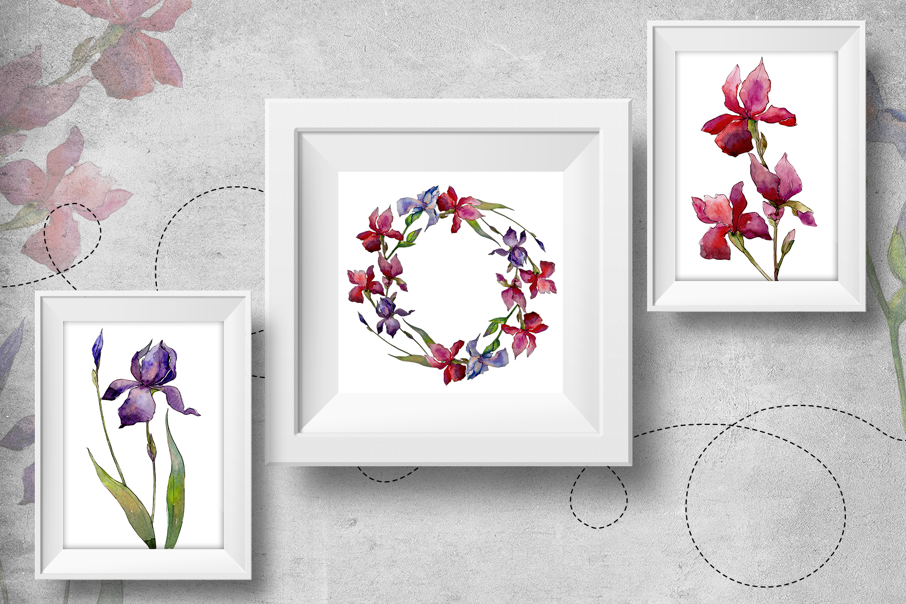 olorful irises PNG watercolor set  example image 6