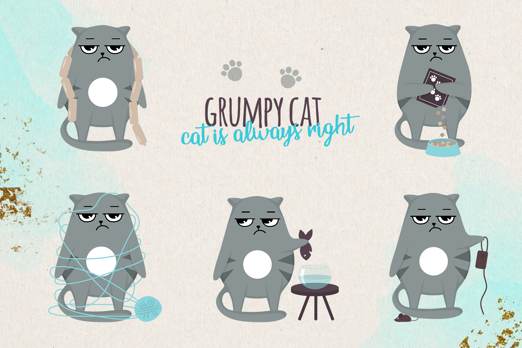 Grumpy cats vector collection example image 2