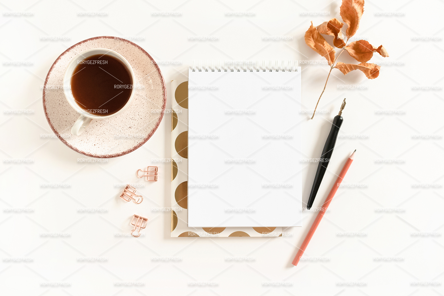Spiral notepad mockup with stationery example image 1