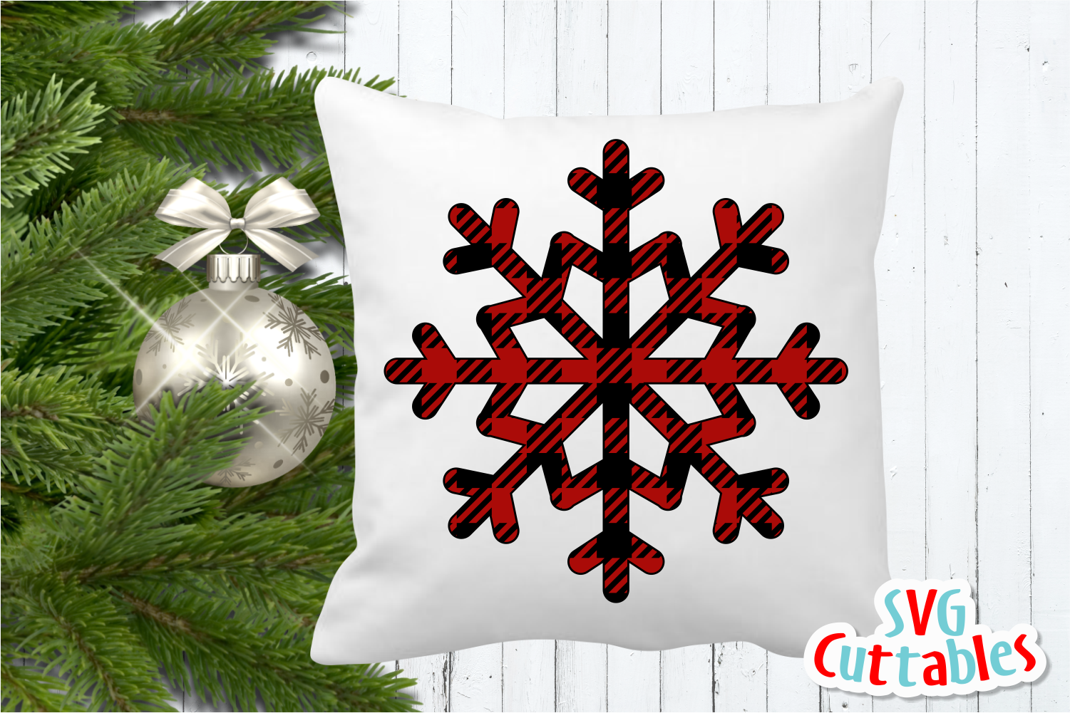 Buffalo Plaid Snowflake | Cut File example image 2