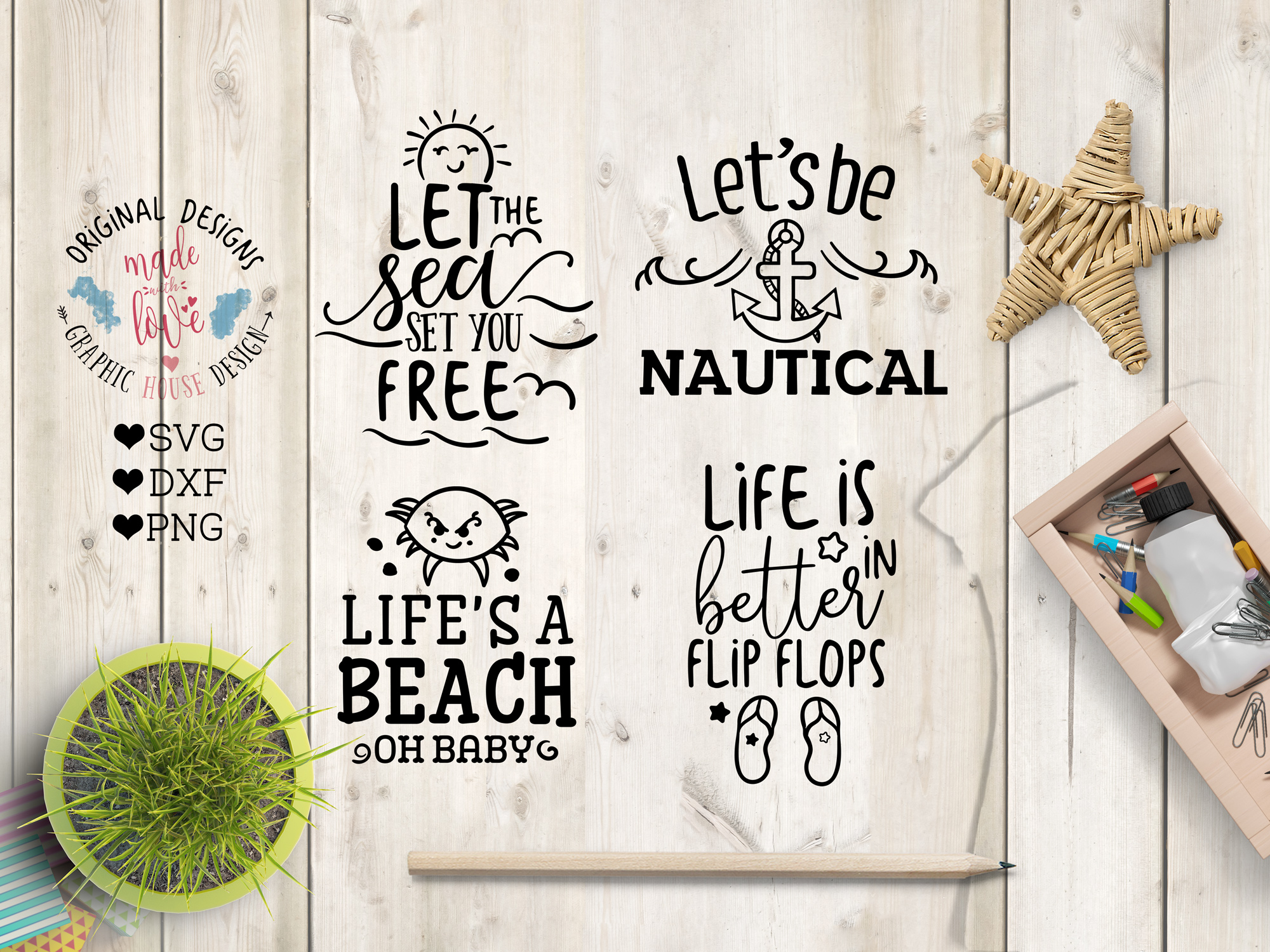 Summer SVG Summer Quotes Summer Cut Files Bundle and Doodles example image 3