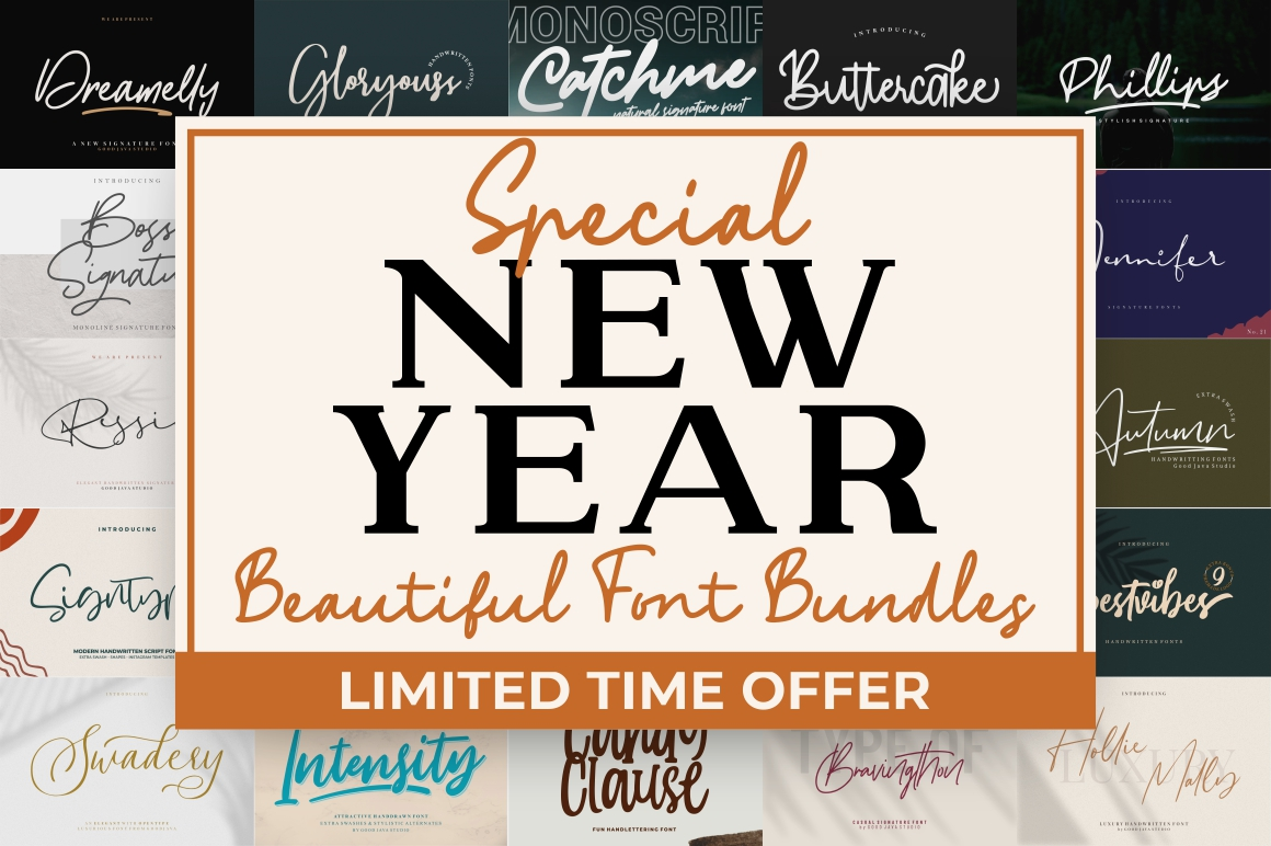 MEGA SALES! - NEW YEAR FONT BUNDLE COLLECTIONS example image 1