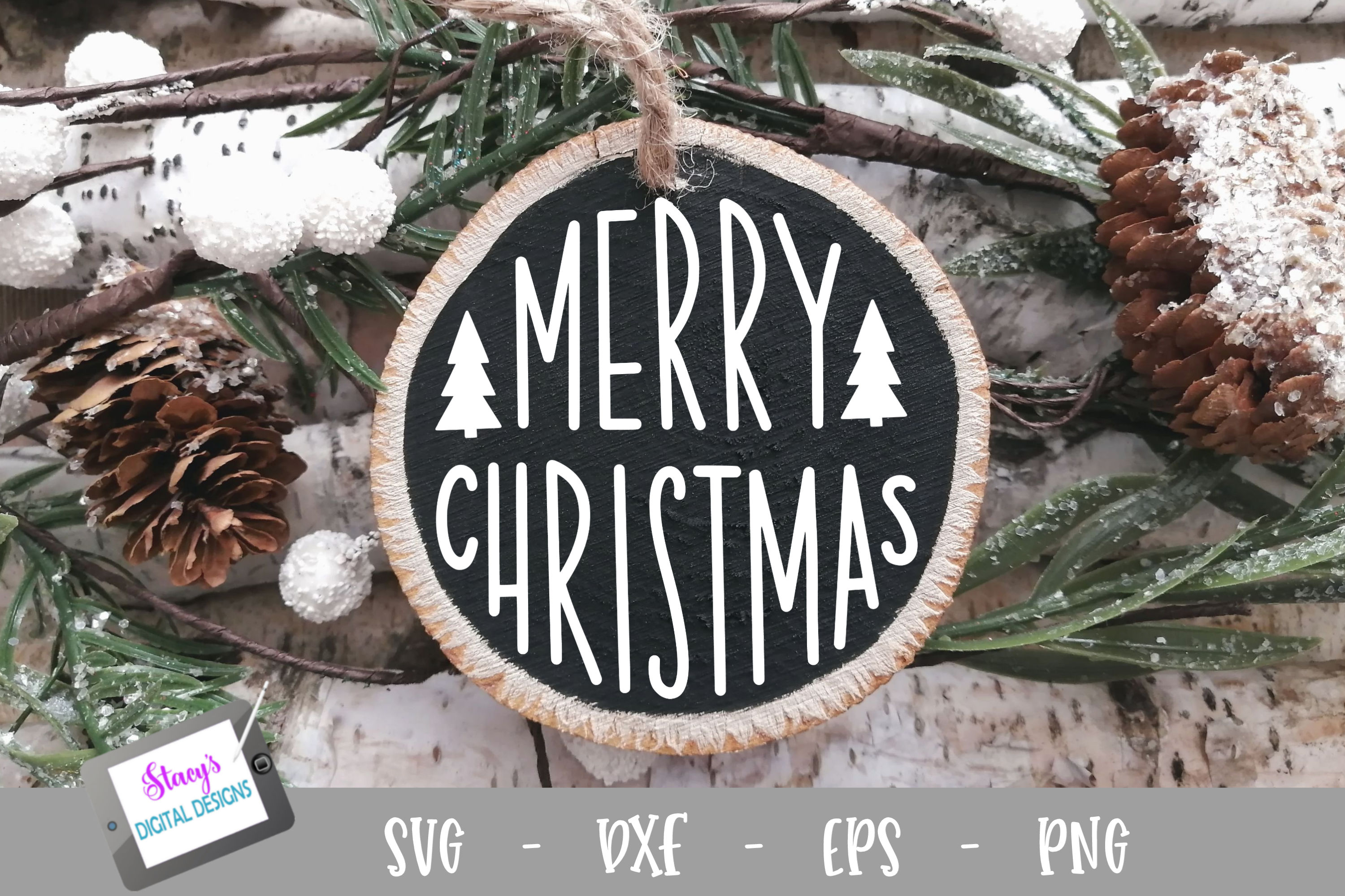 Christmas Ornament SVG - Merry Christmas - Round example image 1