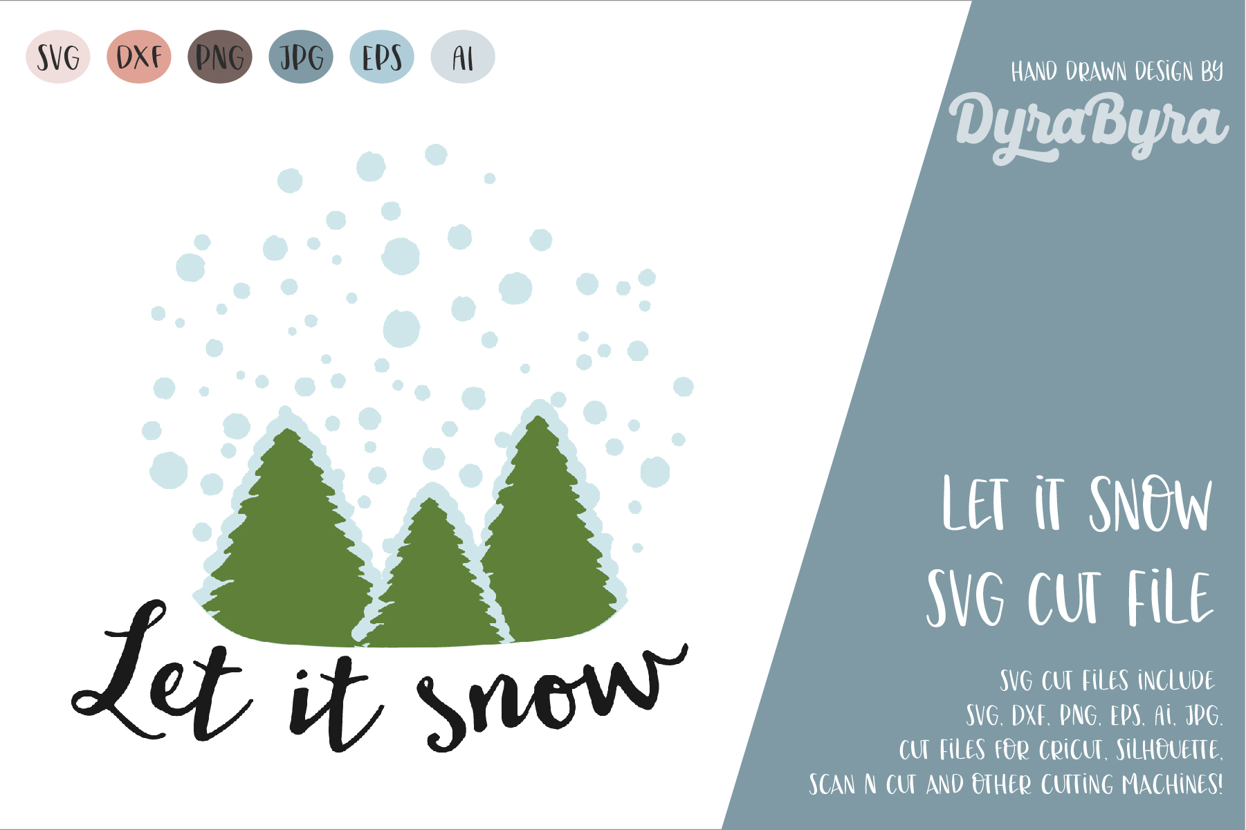 Let it snow SVG / Winter mood SVG / Christmas svg example image 1