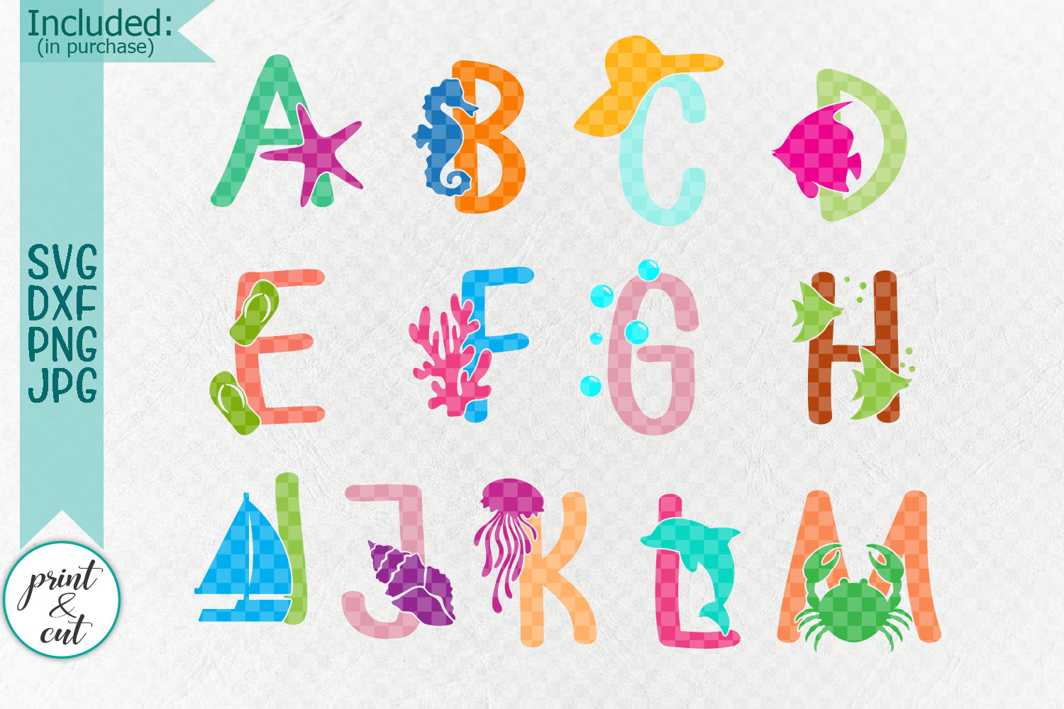 Under the sea Monogram font duo clipart svg dxf cut files example image 2