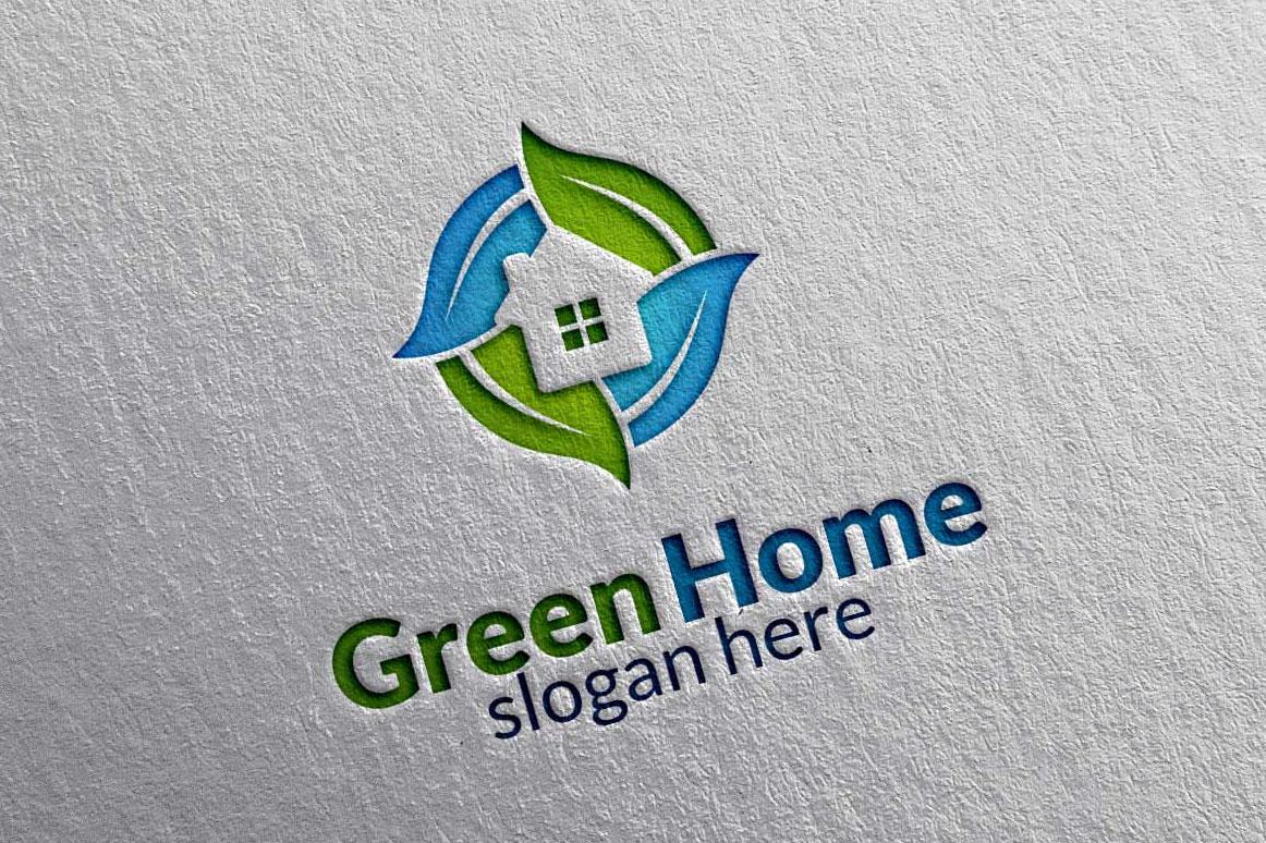 Real estate Logo, Green Home Logo 3 example image 2