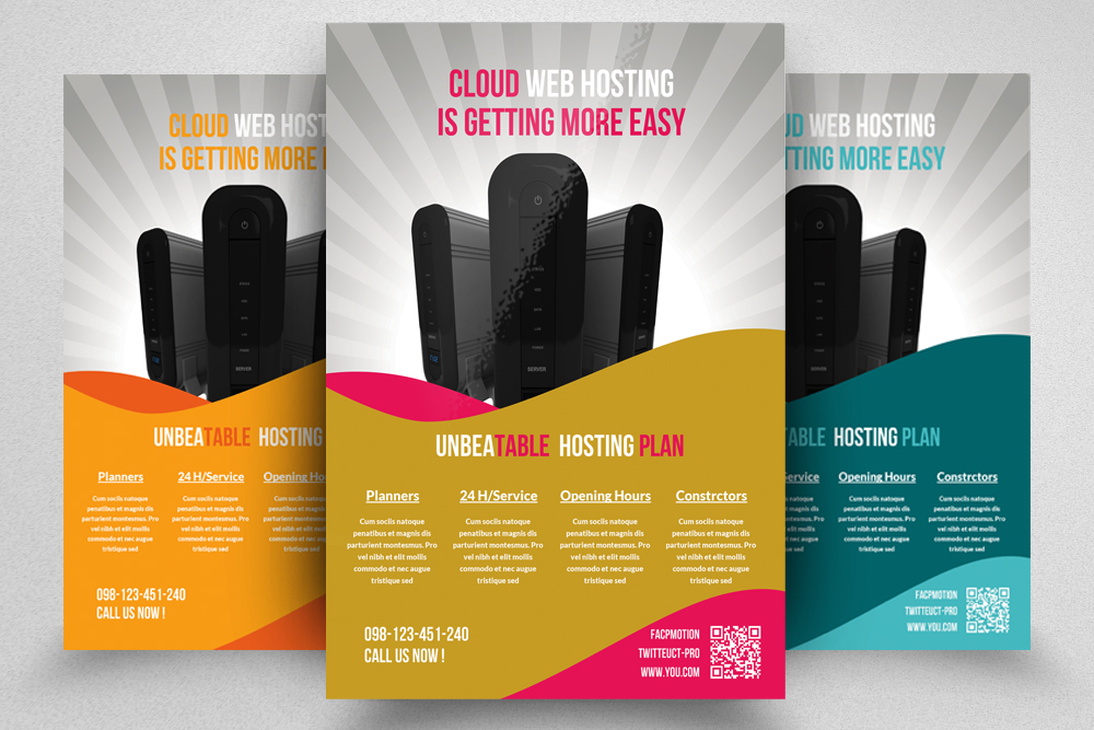 6 Web Hosting Business Flyers Bundle example image 2