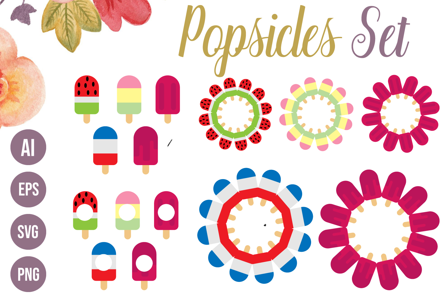 5 Popsicles SVG, Round Popsicles Floral Monograms AI, EPS example image 1