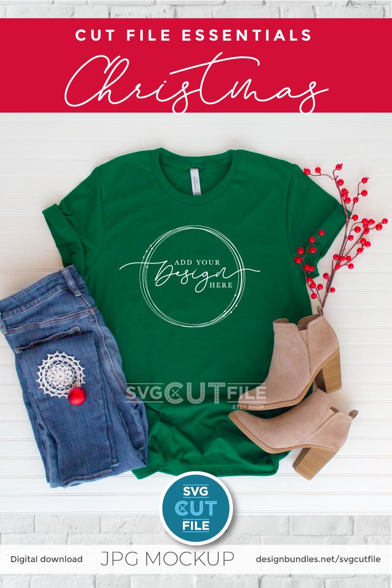Mockup Bella Canvas 3001, green Xmas Evergreen Shirt Mock up example image 2