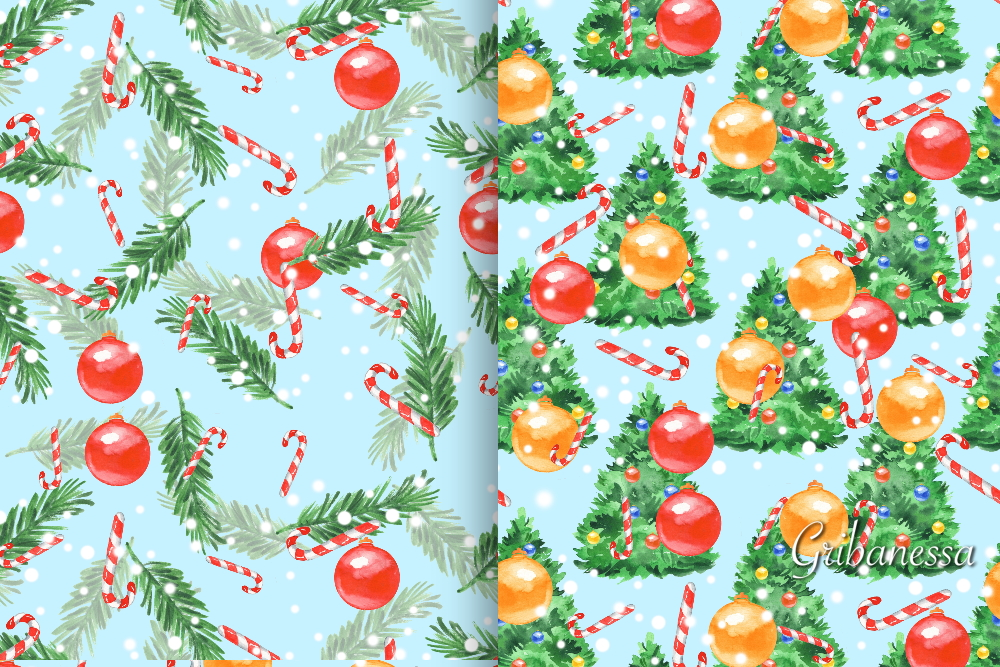 Christmas patterns set 2. Watercolor example image 2