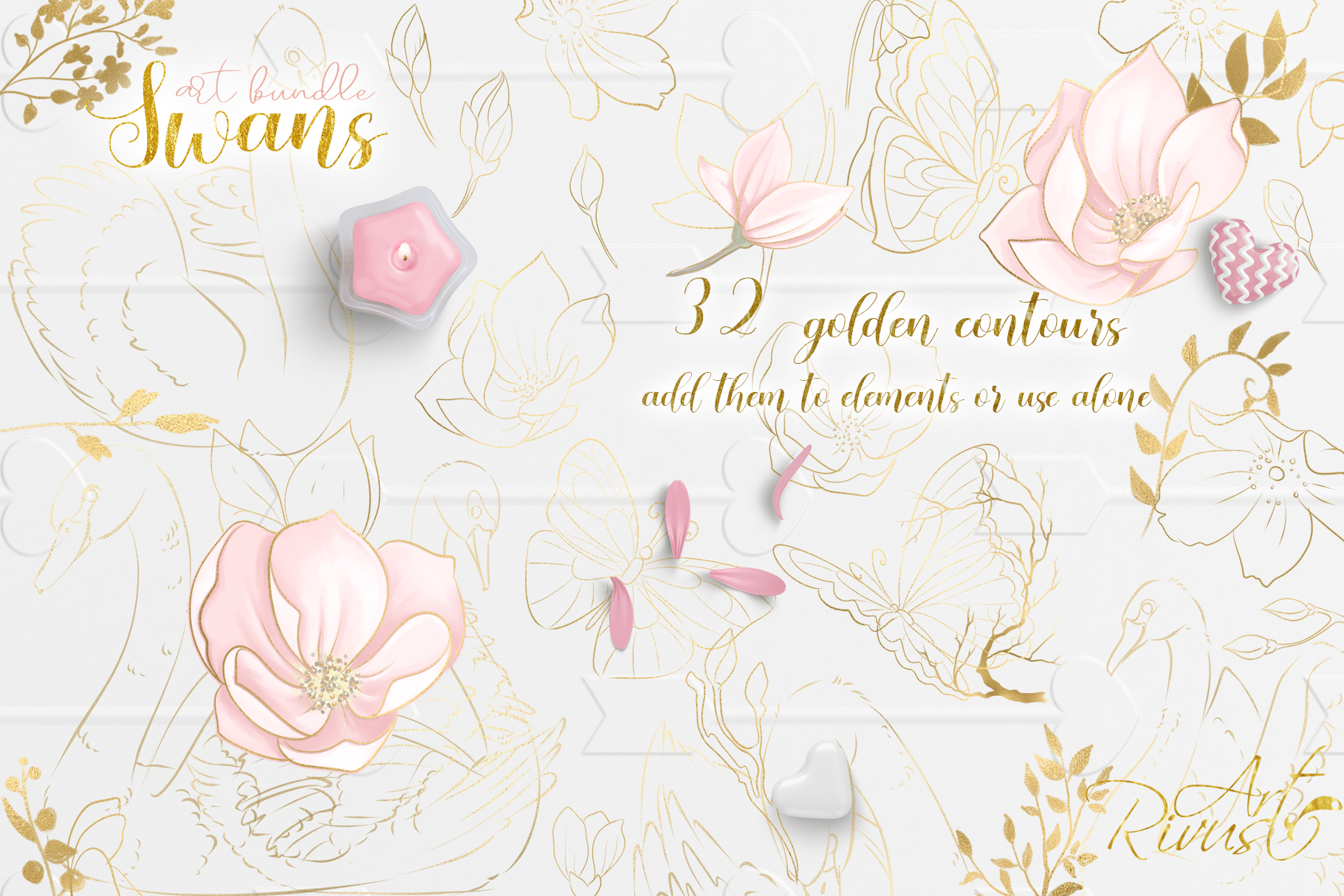 Swans clipart bundle. Wedding and baby shower graphic pack. example image 9