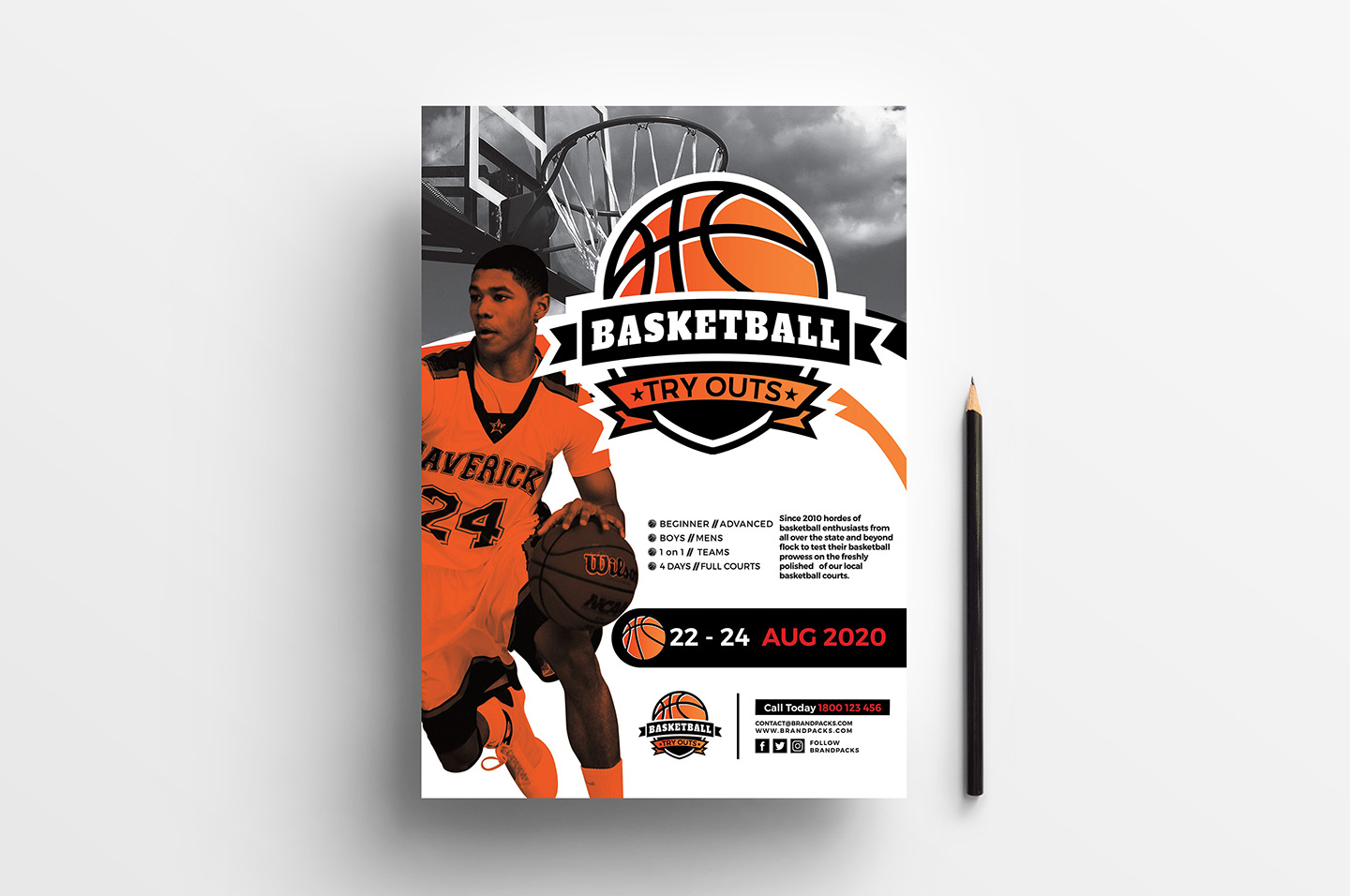 A4 Basketball Advertisement Template example image 1