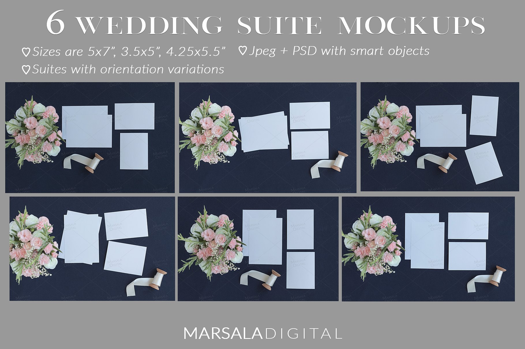 Blush and Navy Wedding Mockup Bundle example image 3