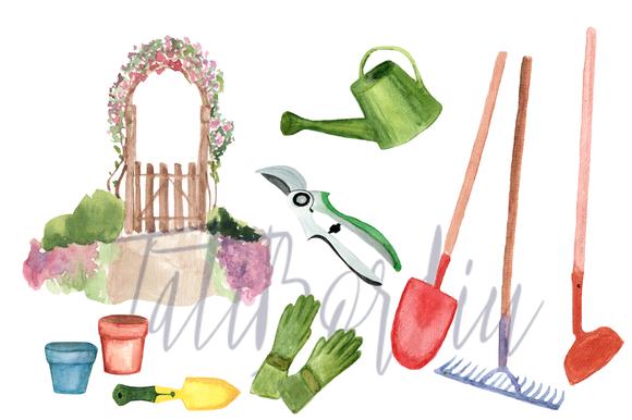 23 Watercolor Garden Clip Art example image 2