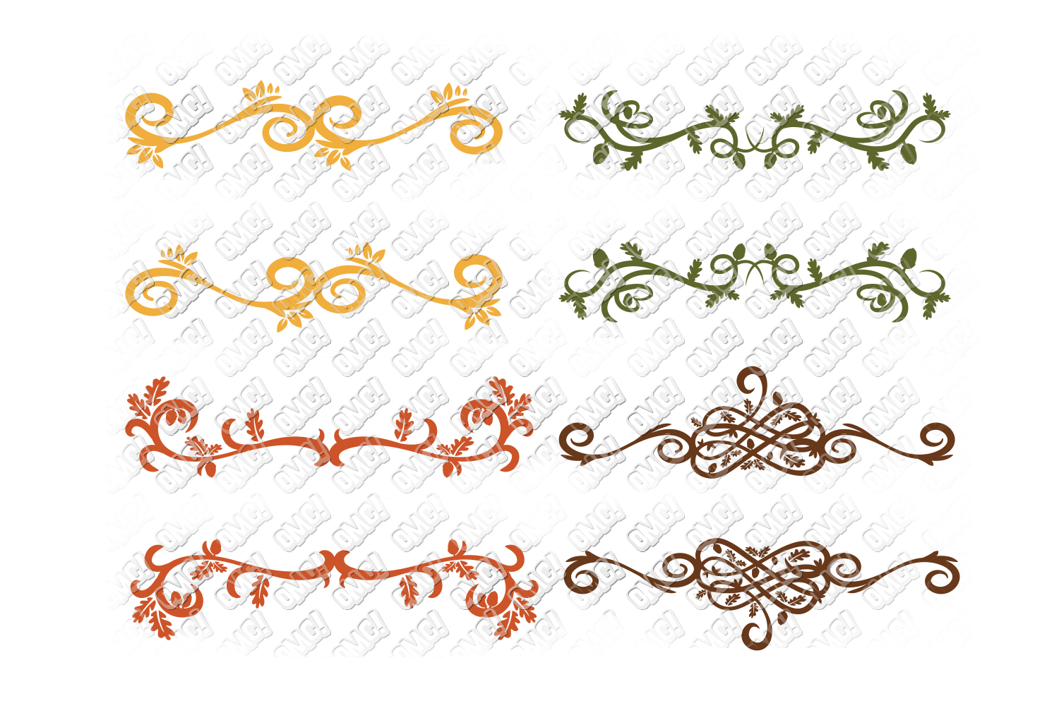 Fall Flourish SVG Monogram Border in SVG, DXF, PNG, EPS, JPG example image 4
