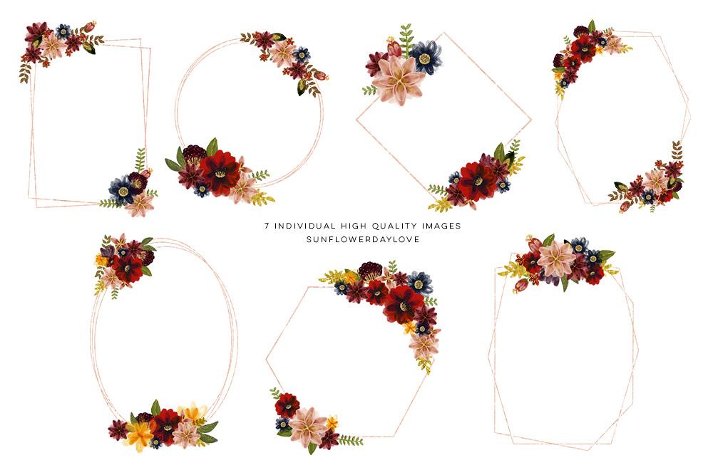 Floral burgundy geometric frame example image 2