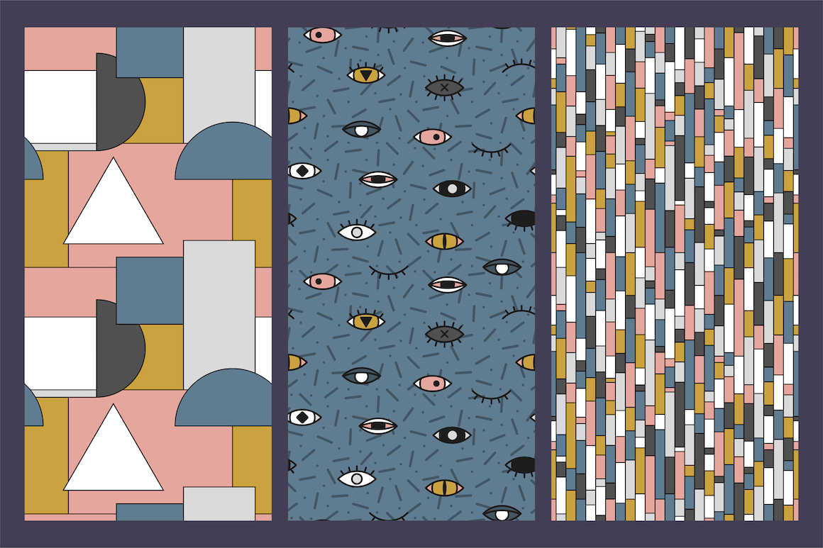 Memphis seamless trendy patterns example image 6